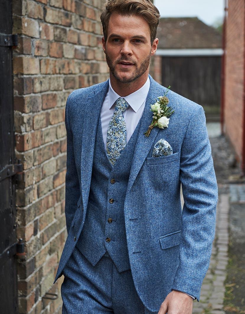 Blue Tweed Wedding Suit Hire