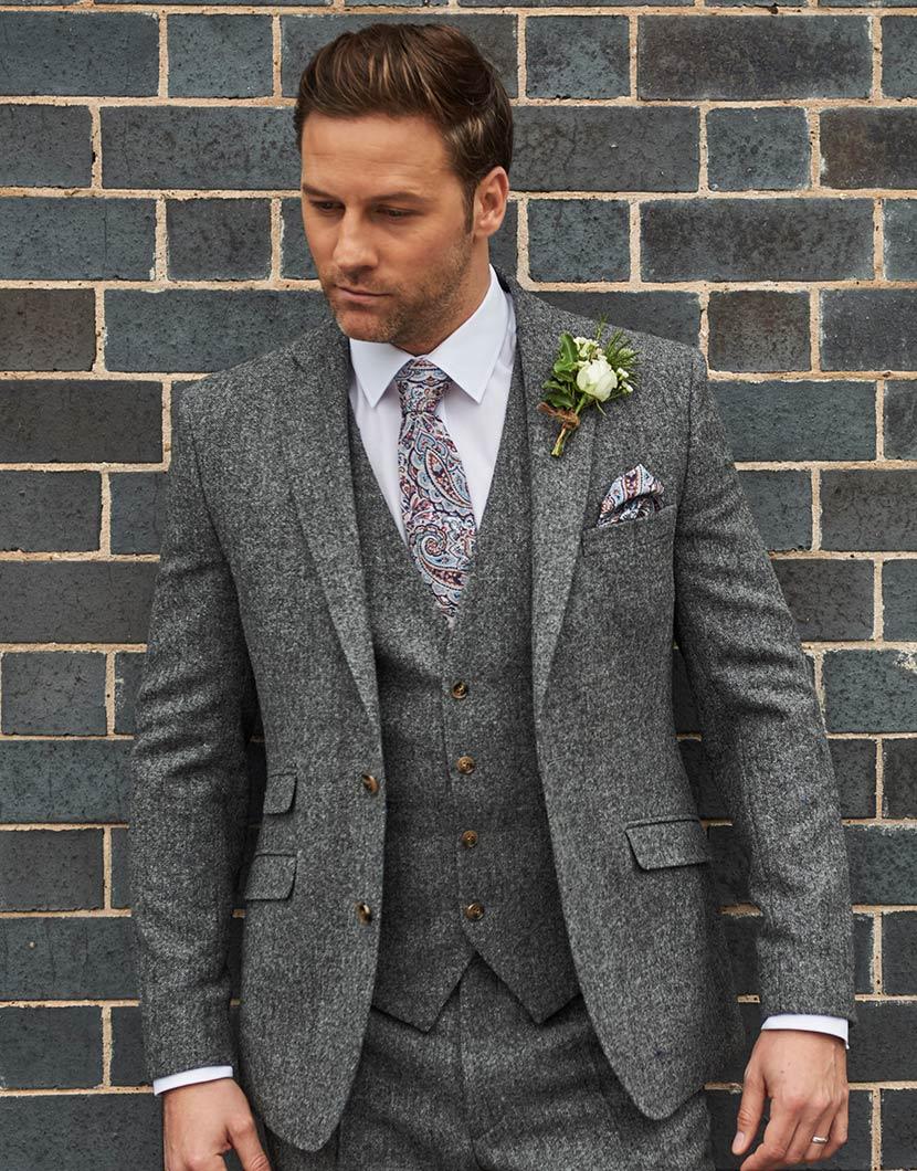 Grey Tweed Wedding Suit Hire