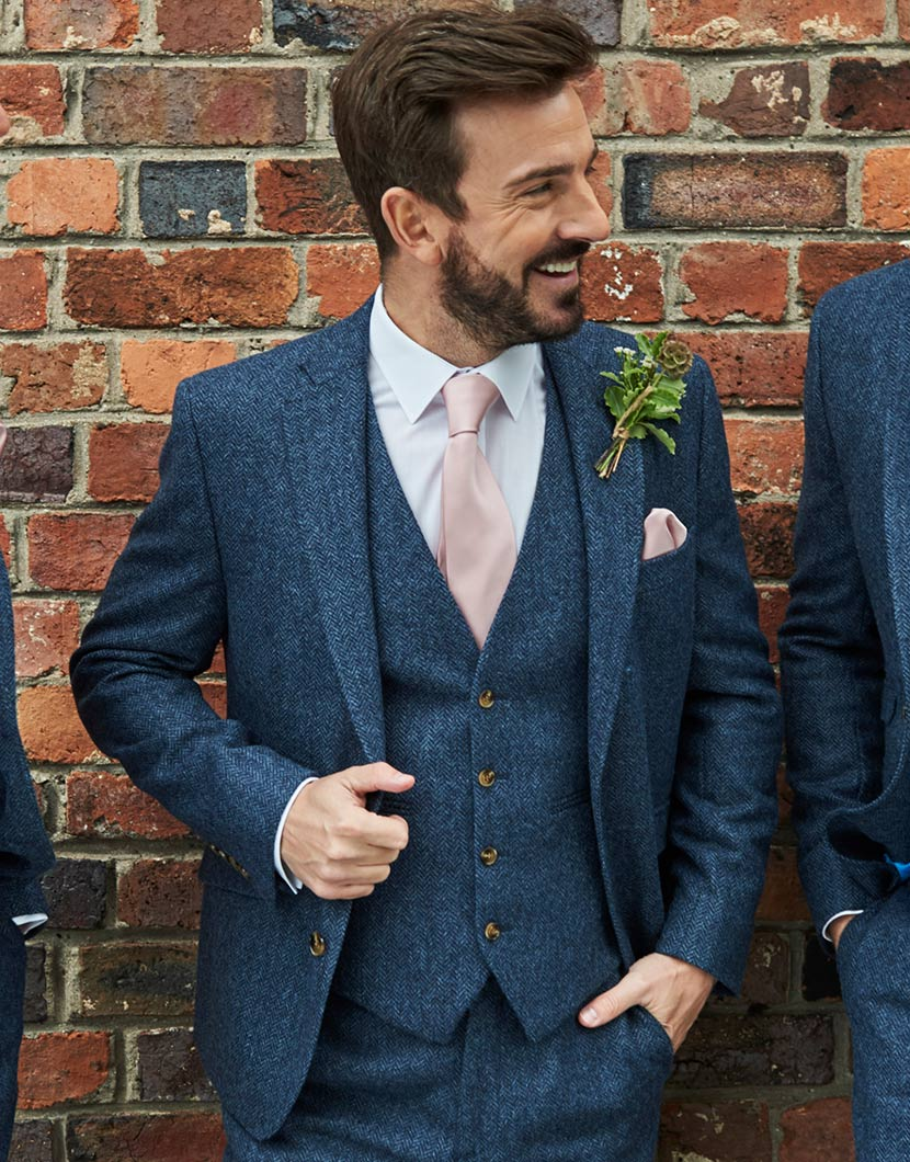 Navy Tweed Wedding Suit Hire