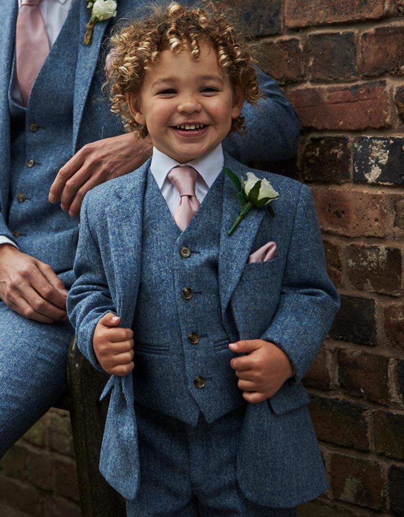 Sky Blue Tweed Wool Suit