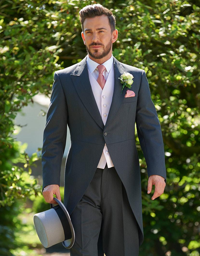 Traditional Charcoal Grey Herringbone Wool Tailcoat